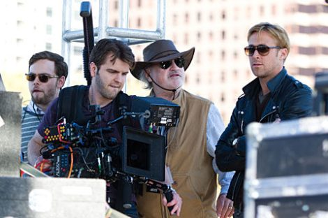 A rare on set snap of Malick, this time with Ryan Gosling filming a yet unnamed film.