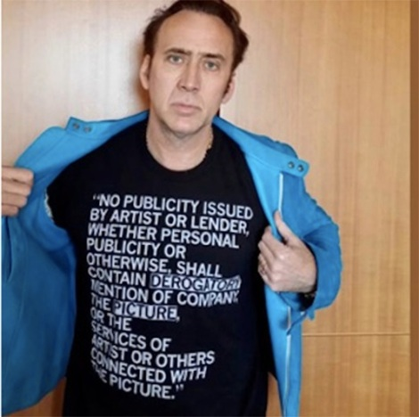 Cage - wearing a t-shirt as part of the campaign against this film