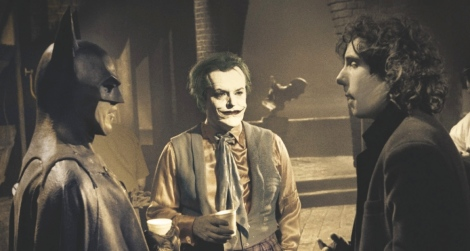 Burton with his main stars Jack Nicholson and Michael Keaton on the set of the game changing Batman