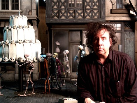 With some of his creations from Corpse Bride, one of Burton's forays into animation