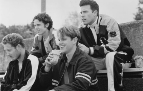 Damon with his crew of buddies in Good Will Hunting