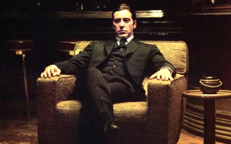 One of the many memorable images of Pacino as Michael Corleone