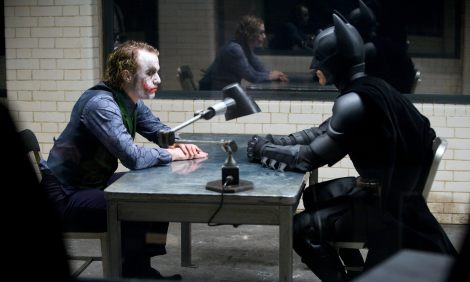 Bale with his late co-star Heath Ledger in one of The Dark Knight's pivotal scenes