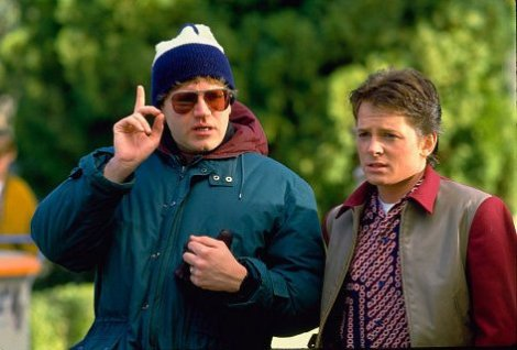 Zemeckis and his Back to the Future star Michael J Fox captured on set