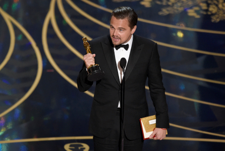 Finally! DiCaprio collects a golden statue for his role in The Revenant