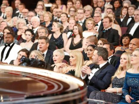 The audience look on as the Oscars produce its biggest ever stuff-up